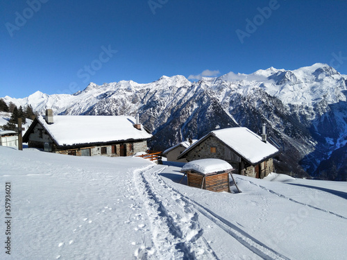Mountain panorama of the ski area in the Lepontine Alps #357936021