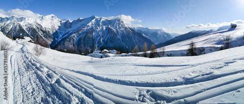 Mountain panorama of the ski area in the Lepontine Alps #357936037