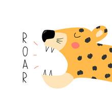 Funny Roaring Leopard. Trendy Graphic. Vector Hand Drawn Illustration.
