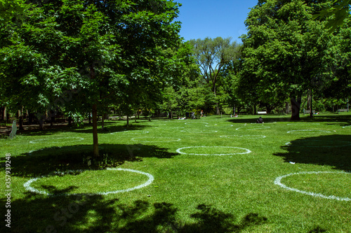 Social Distancing Circles in Park Trinity Bellwoods Toronto Covid 2019