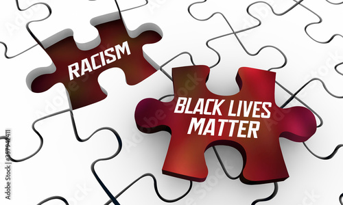 Valokuva Black Lives Matter Movement Fight Against End Stop Racism Puzzle Solution 3d Ill