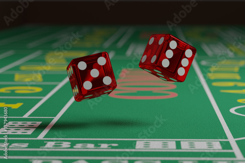Close up of dice rolling on a craps table. Random concept. Canvas Print