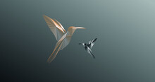 Two Flying Hummingbirds On A Gray Background Logo