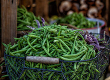 Fresh  Green Beans On A Market