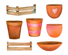 Watercolor Hand Painted Set Of Brown Clay And Wood Pots With Decor. Clipart Illustration Of Natiral Flowerpot For Houseplant, Isolated On White Background. Use It For Design Home Decor.