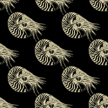Seamless Geometrical Pattern With Hand Drawn Linear Sketches Of Ocean Mollusk Nautilus Pompilius. Sepia Brown Silhouettes On Light Yellow Background. Vintage Style.