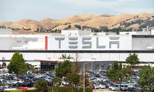 Fairfield, CA - June 15, 2020: Close up of sign at Tesla's factory in Fremont, California, one of the world's most advanced automotive plants with more than 10,000 employees.