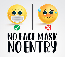 Smiley Face Mask Signage Vector Design. No Face Mask No Entry Text With Two Emojis Wearing And Not Wearing Surgical Mask For Covid-19 Safety And Security. Vector Illustration.