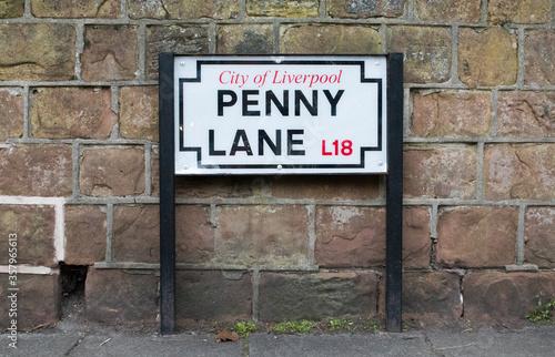 Fotografie, Obraz Iconic Penny Lane Street Sign in Liverpool, UK