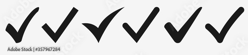 Photo Check mark icon set – Isolated black symbol on white background collection – Acc