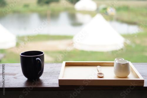 Obraz na płótnie Black Mug Cup Wooden Set