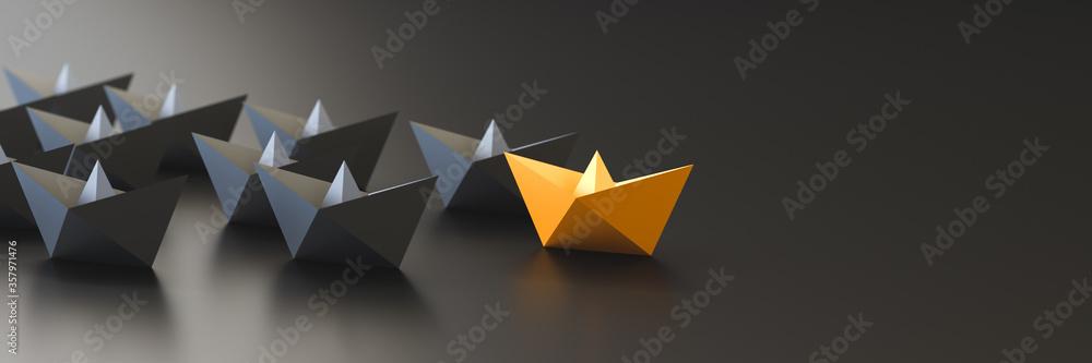 Fototapeta Leadership, success, and teamwork concept, orange leader boat leading black boats. 3D Rendering.