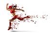 Leinwandbild Motiv Sporty young woman running.  Isolated on white background