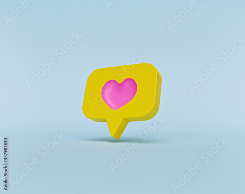 Fotografie, Obraz social media heart icon. minimal isolated symbol. 3d rendering