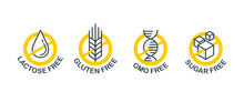 Lactose Free Sign, Sugar Free, Gluten Free, GMO Free - Set Of Vector Attention Tags - Food Packaging Decoration Element For Healthy Natural Organic Nutrition