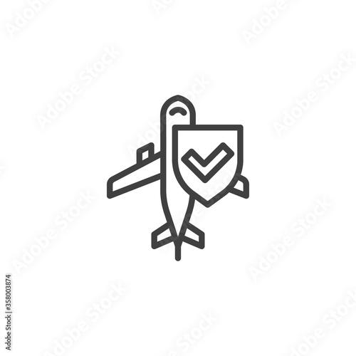 Cuadros en Lienzo Airline Travel Insurance line icon