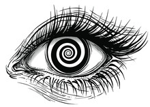 Isolated Vector Illustration Of Realistic Human Eye Of A Girl With Spiral Hypnotic Iris.