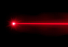 Red Laser Beam Ray On Transpar...