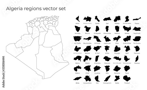 Photo Algeria map with shapes of regions