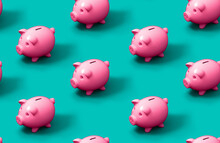 Seamless Pattern Of Pink Piggy...