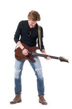 Young Stylish Rocker Playing R...