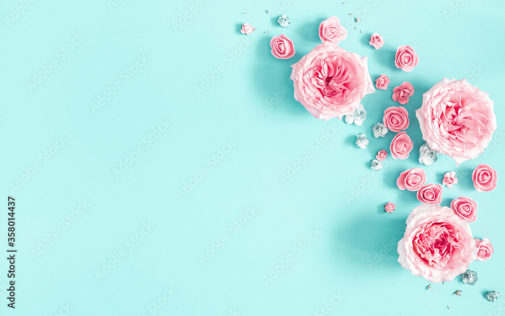 Fototapeta Flowers composition. Frame made of rose flowers on blue background. Flat lay, top view, copy space