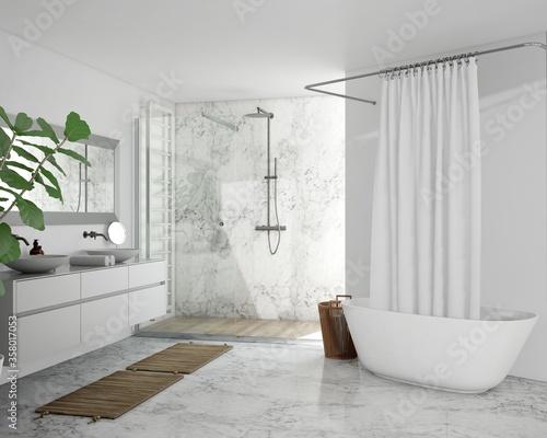 Realistic 3D rendering of modern bathroom design Fototapet