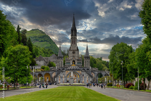 View of the basilica of Lourdes in France Canvas Print
