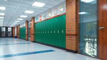 School Corridor With Lockers. ...