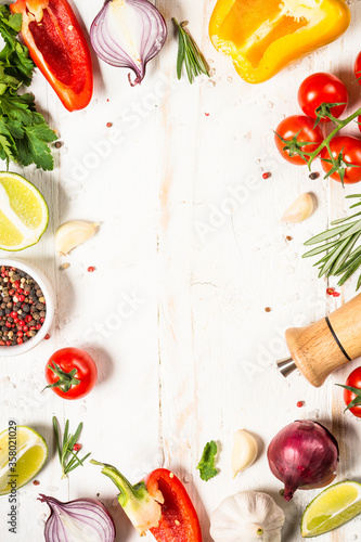 Fotografie, Obraz Food cooking background on white wooden table.