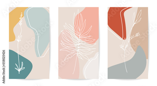 Trendy editable story templates with white lines of plants, vector illustration pastel colors isolated on white Slika na platnu