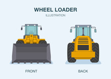 Isolated Wheel Loader Truck. Front And Back View. Flat Vector Illustration.
