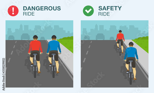 Photo Dangerous and safety bicycle ride on road