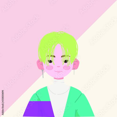 Photo Cute Asian Boy Vector Illustration