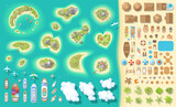 Vector set. Summer vacation. Tropical islands. (top view) Time to travel - sun, sea, island, sand, yacht, airplane, people, furniture, palm trees, clouds. (view from above)