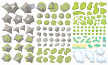 Set Of Landscape Elements. (Top View) Mountains, Hills, Rocks, Stones, Trees, Plants, River, Clouds. (View From Above)