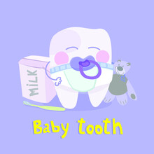 Baby Tooth Vector Illustration Of Children's Dental Theme