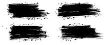 Set Of Black Ink, Grunge. Blac...