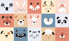 Cute Animals For Kids And Baby, Nursery Poster For Baby Room, Greeting Cards, Childish Seamless Pattern. Hand Drawn Scandinavian Style, Vector Illustration.