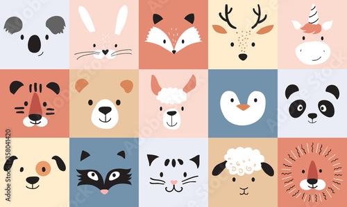 Fototapeta premium Śliczne zwierzęta dla dzieci i niemowląt, plakat przedszkola do pokoju dziecięcego, kartki z życzeniami, dziecinny wzór. Ręcznie rysowane w stylu skandynawskim, ilustracji wektorowych.