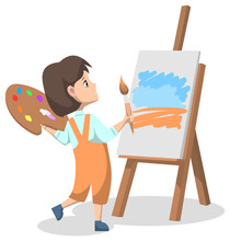 Art Club After Lessons For Pupils. Girl Standing With Colorful Paint Palette And Brush Or Tassel. Kid Drawing Painting On Canvas Or Easel. Back To School Concept. Flat Cartoon Vector Illustration