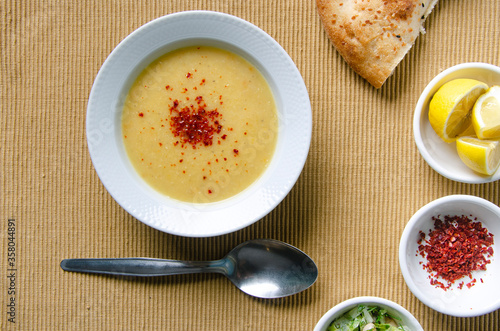 lentil soup on the kitchen table