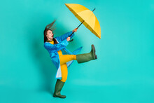 Full Length Profile Photo Of Shocked Lady Stormy Rainy Weather Walk Street Hold Umbrella Catch Strong Wind Blew Away Wear Raincoat Sweater Pants Gumboots Isolated Teal Color Background