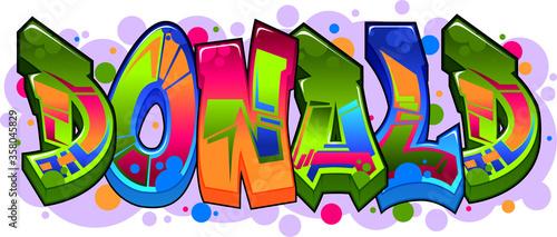 Fotografie, Obraz Donald Name Text Graffiti Word Design