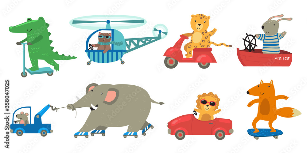 Fototapeta Cute animals riding toy transport set. Happy funny lion, crocodile, bunny travelling by helicopter, boat, motor bike, skateboard. Cartoon characters for transportation or driving concept