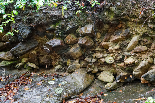 Stony embankment adjacent to rocky creek bed, with lichen and green and orange leaves Canvas Print
