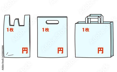Photo レジ袋の有料化によるレジ袋の値段の案内素材 主線あり