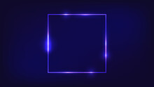 Neon Square Frame With Shining...