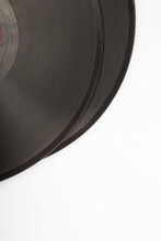 Copy Space Flat Lay Close Up Shot Of A Stack Of Two Old Soviet Phonograph Vinyls On A White Background
