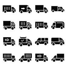 Transport Glyphs Vector Icon Set